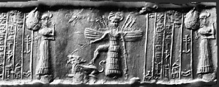 Inanna i sit aspekt af krigergudinde med foden på en løve
